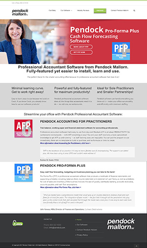 Web Site for Pendock Software by Context Marketing Communications