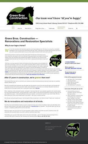 Web Site for Green Bros Construction by Context Marketing Communications