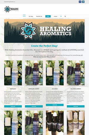 Website for Healing Aromatics by Context Marketing Communications