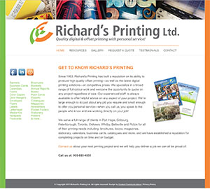 Website for Richards Printing by Context Marketing Communications