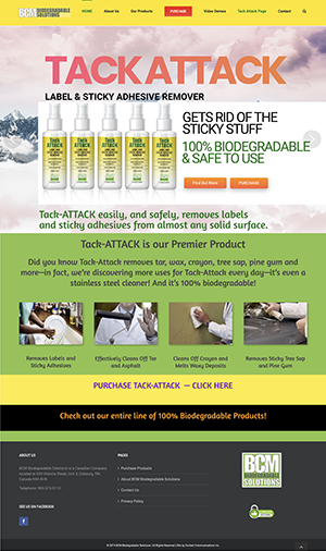 Web Site for BCM Chem Products Tack-ATTACK by Context Marketing Communications