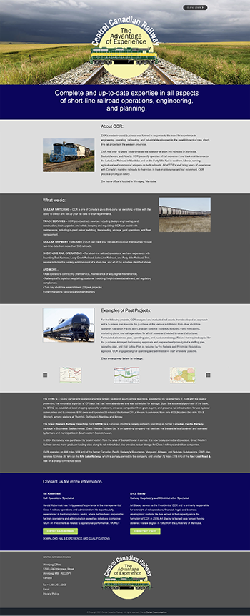 Web site for the Canadian Central Railroad by Context Marketing Communications
