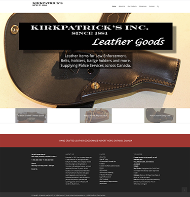 Web Site for Kirkpatrick's Leather Goods by Context Marketing Communications