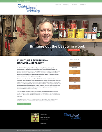 Web Site for Trevor Wood Finishing by Context Marketing Communications